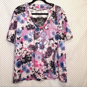 Floral Short Sleeve Lace Faux V Neck Top